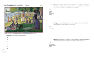 Art analysis of La Grande Jatte