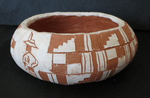 Clay Corson, Engraved clay vessel, Fall 2015