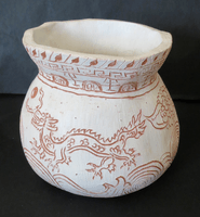 Jade Frazer, Engraved clay vessel, Fall 2015