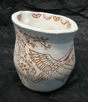 Gracie Walker, engraved clay vessel, Spring 2017