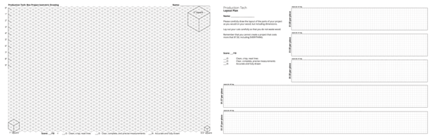 Box project isometric drawing and layout blanks