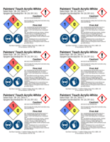 Painters Touch, white 2x3 chemical safety labels