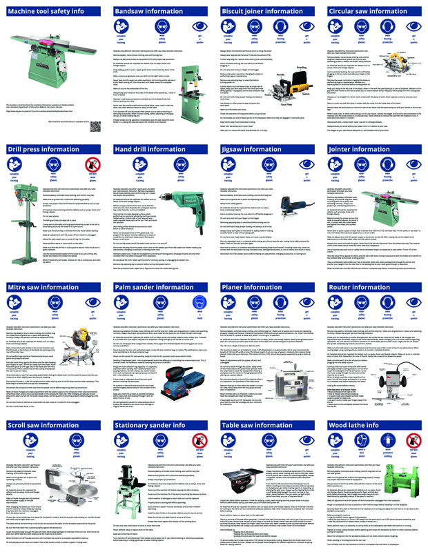 Tool safety info: One page per tool