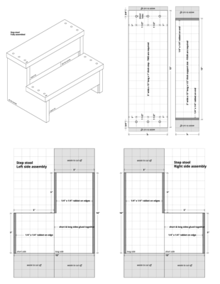 Step stool: Technical drawings