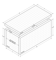 Isometric drawing of biscuit jointed box