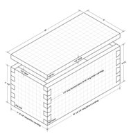 Isometric drawing of dovetail jointed box