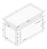 Isometric drawing of dowel jointed box