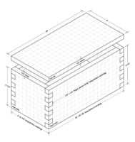 Isometric drawing of finger jointed box