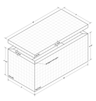 Isometric drawing of mitre jointed box